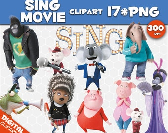Sing movie Clipart 17 PNG 300dpi Images Digital Clip Art Sing Instant Download Graphics transparent background birthday Sing scrapbooking