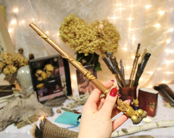 Warm Brown and Gold Wand, Magic Wand, Paper Wand, Wizards Wand, Witch's Wand