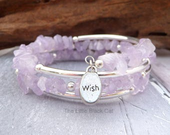 Amethyst Lilac Bracelet, Purple Bracelet, Amethyst Bangle, Wrap Bangle, February Birthstone, Lavender, Gemstone Bracelet, For Her, Ladies