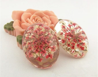 Cabochon resin 25 x 18 with red and white flowers