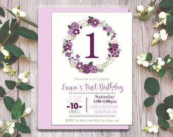 Girl Birthday Party Invitation, Printable, Garden Party, Floral Wreath, First Birthday, Shower, Spring