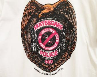 Vintage BONES BRIGADE Skateboard Police White T-Shirt/ Dead Stock / Powell Peralta / Vans / Thrasher / Vision / Airwalk / Santa Cruz / Skate