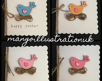 Cute Handmade 3D Blank Easter Chick Greetings Card - Bird design - Select colour