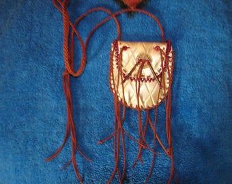 Fringed Medicine Bag Beaded Native American Leather Necklace Bag Regalia