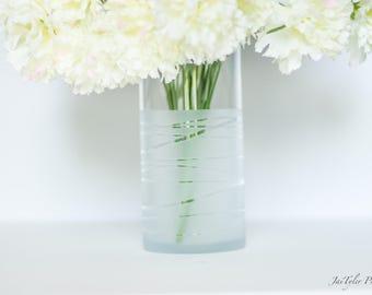 Cylinder Vase, Frosted Dipped Striped Vase