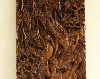 A hand carved wooden panel Bali, Indonesia ca. 1950s