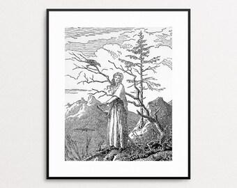 Woman With Raven by Caspar David Friedrich - Raven Art - Crow Art - Wall Art - Raven Print - Black and White -  Giclee Print - Bird Art