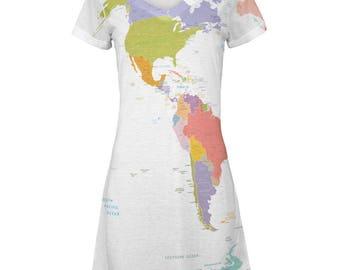 World Traveler Global Map All Over Juniors Beach Cover-Up Dress