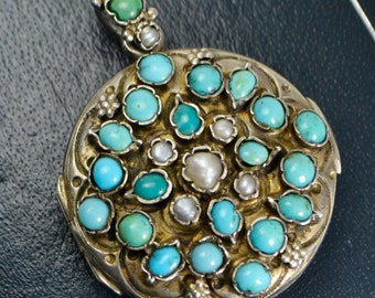 Fine AUSTRO-HUNGARIAN Solid Silver DOUBLE Sided Turquoise, Pearl & Garnet Locket