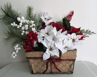 Rustic Christmas Themed Floral Basket Arrangement Centerpiece, featuring Holly Berries