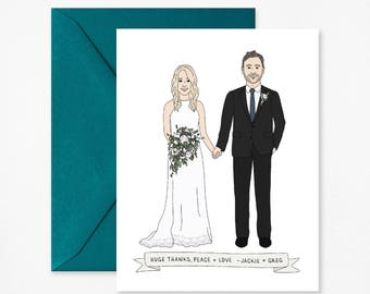 Custom Wedding Thank You Card - Wedding Thank You Note - Personalized Wedding Thank You Card - Custom Portrait Wedding Illustration