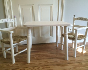 Children's seat group / children's furniture / children's table with 2 kids chairs (with arms) / wood table with 2 chairs