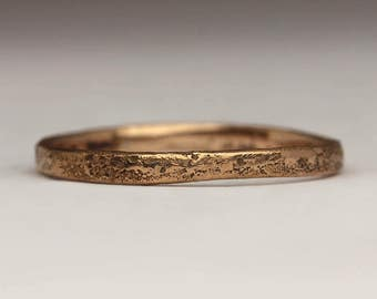 Skinny 18ct Rose Gold Ring, Delicate Textured Stacking Ring, Solid Gold Tiny 1.8mmRing, Unique Dainty Slender Ring, Subtle Elegant Jewellery