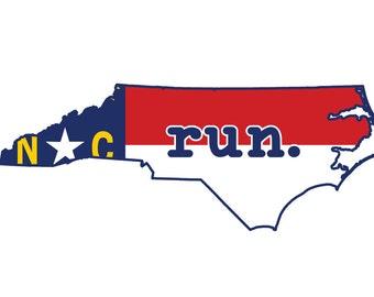 Run NC State Flag Outline