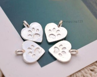 4 pcs dog paw charms pet paw pendants in sterling silver, JT1