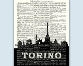 Torino Italy Skyline, Torino Wall Art, Torino Wall Decor, Torino Italia, Torino Home Decor, Turin Italy, Torino Italy Print