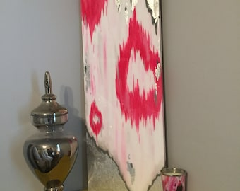 SOLD! Original astract acrylic painting with pink, gray, white, silver leafing, and resin coating.