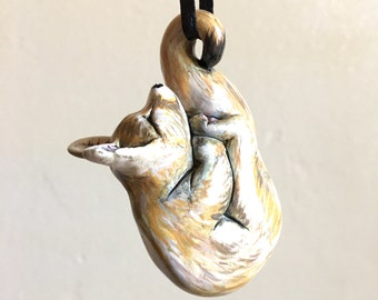 Fox Totem Pendant Ornament Wildlife Figurine Handmade Sculpture