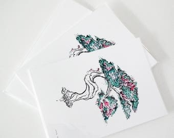Green Bonsai Tree watercolour and ink illustration print