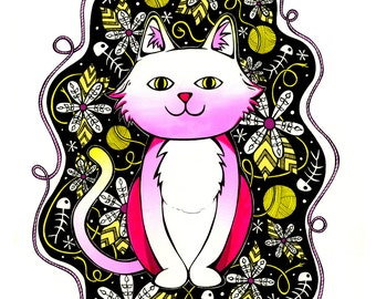 Super Kitsch Pink Cat - Archival Print from Original Drawing