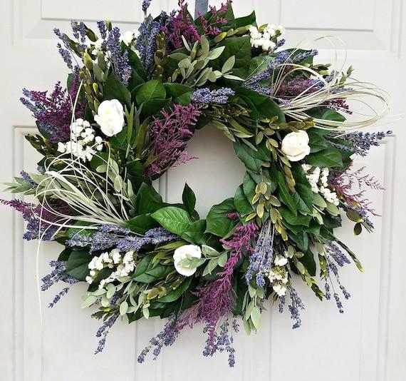 Custom sizes, 24 inch wreath, lavender wreath, preserved wreath, leaf wreath cream roses wreath, fragrant wreath, purple wreath