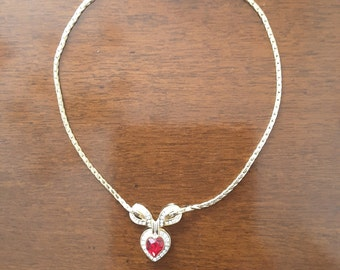 Love bow and Heart Necklace with Ruby Red Crystal with crystals vintage anni ' 80