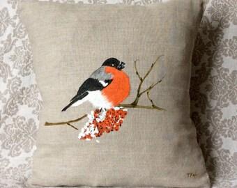 Hand painted Pillow Cover/Christmas/Snow/Holiday Pillows/Seasonal Decorations/Pillow with Red Bird/natural linen/Bullfinch/Rowan/Winter