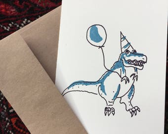 Dinomite silkscreened birthday card