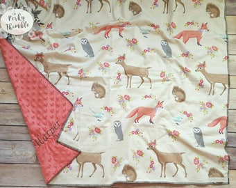 Embroidered baby blanket, Fox baby blanket, Fox girl blanket, Minky baby blanket, Deer baby blanket, Woodlands baby blanket, personalized