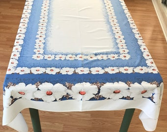 Retro Tablecloth, Lovely Vintage Flowered Tablecloth. Cottage Chic Imperfect Retro Tablecloth, Flower Print Tablecloth