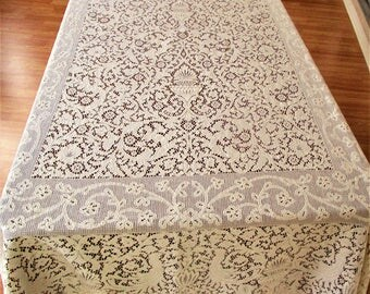 Lace Tablecloth, Cream Lace Rectangular Tablecloth, Stunning Cream Picot Edge Lace Cloth Tablecloth, Slightly Imperfect Lace Tablecloth
