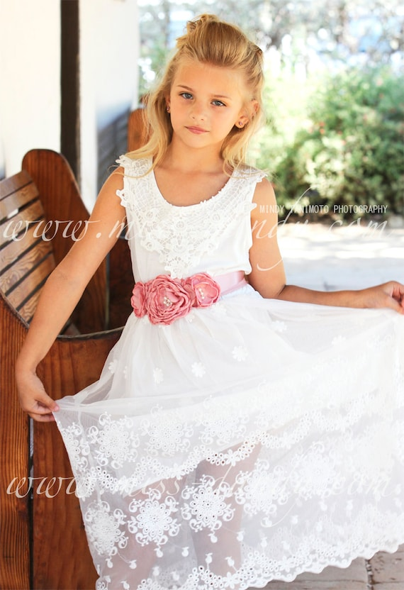 Easter Girl Dress, Lace Girl Dress, White Lace Girls Dress, Beach Flower Girl Dress, Rustic Lace Dress, Bohemian Boho Lace Flower Girl Dress