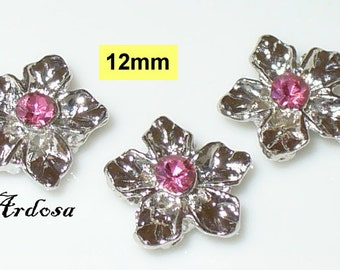 3 connector flower silver with Pink Rhinestone 4 hole, 2 rows (K131. 12.1)