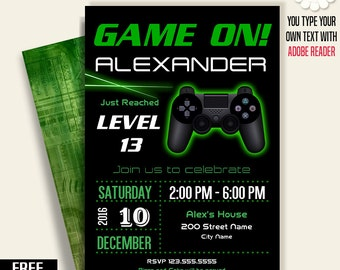 Game on invitation, Video game party invitation, gaming birthday invite, Printable Self Editable PDF File A226