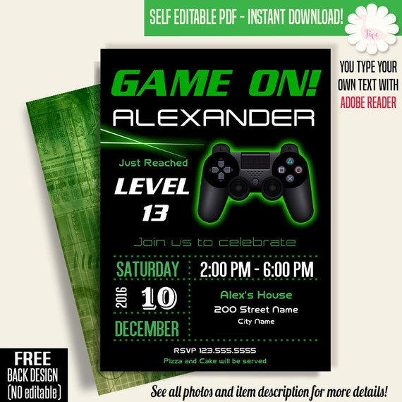 Game On Invitation Video Game Party Invitation Gaming - Birthday invitation video