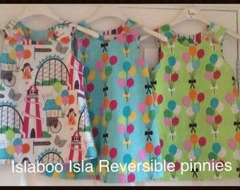Girls Reversible pinafore dress balloons and fairground, balloons and fairground dress, birthday dress, reversible birthday dress