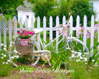 Door County Photography, Bike Photography, White Bike, Pink Bike, Ephraim, Schwinn Bike, Floral Photography, Picket Fence, Bicycle Art