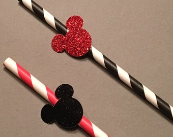 12 Minnie Mouse Straws Glitter Straws Minnie Mouse Birthday Straws Minnie Mouse Baby Shower Straws Minnie Mouse Decor Red Black