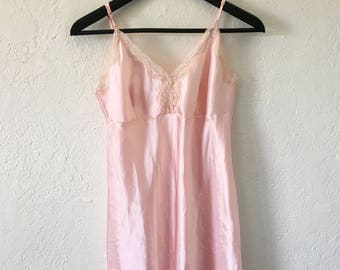Vintage Gilligan O'Maley 80s 90s Light Pink Silky Slip Dress