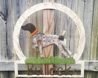 German Shorthaired Pointer Beadboard Family Name/Welcome Sign