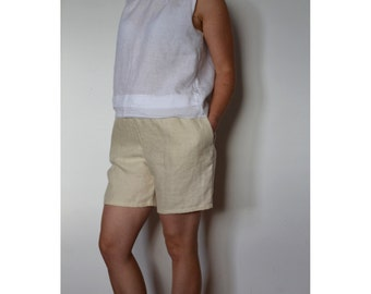 Womens shorts, Natural shorts, Womens linen shorts, Linen shorts, Summer shorts, Shorts with elastic waist, Handmade shorts, Shorts womens
