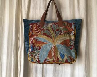Bag weekend travel Atlantis tapestry velvet leather