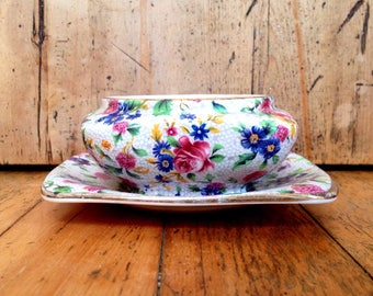 """Royal Winton Grimwades """"Old Cottage"""" chintz jelly dish and saucer made in England, vintage china"""