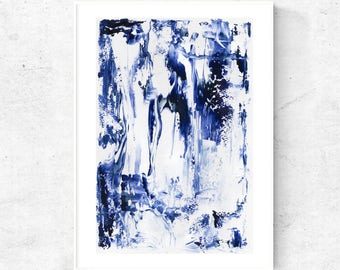 Abstract printable art, Printable painting, large abstract digital print, Blue and white art download, abstract art print, blue art, 20x30