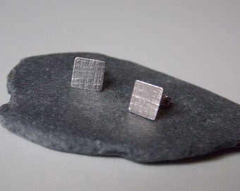 Silver hammered and square ear stud