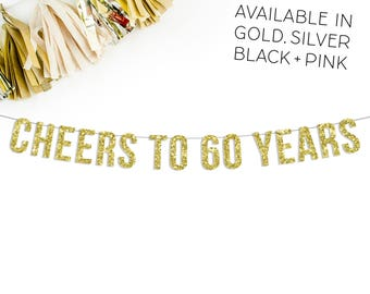 Cheers To 60 Years Banner | 60th birthday party decorations retirement anniversary pink black gold silver bar sign cups napkins sixty decor
