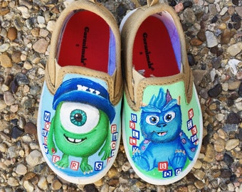 Monsters inc. disney painted shoes
