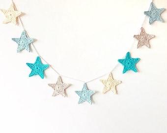 Crocheted Star Garland - blue/cream/grey