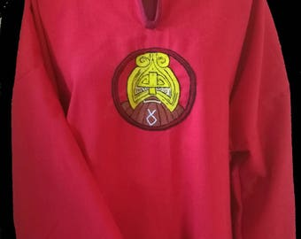 Red Linen Tunic with Dwarven motif - LARP costume