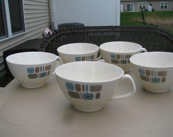 "Canonsburg Pottery ""Temporama"" Flat Cups, Set of 5, Mid Century Modern Atomic Design"